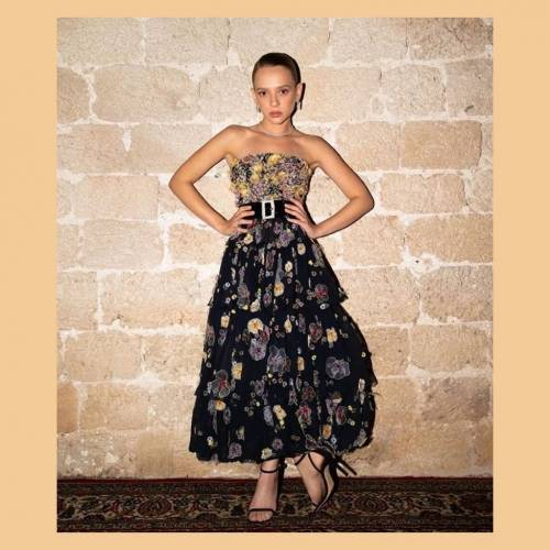 Shira Haas in Chanel Haute Couture bustier dress with embroidered flowers